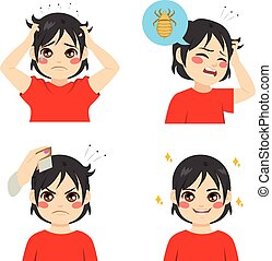 Boy With Lice - Cute boy with different stages of lice...