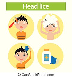 boy with lice. step by step how to remove lice