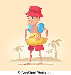 Boy with Lifebuoy on Summer Holidays. Sea Vacation. Vector cartoon illustration