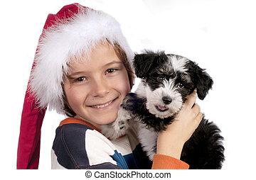 Boy with  little Powder-puff puppy