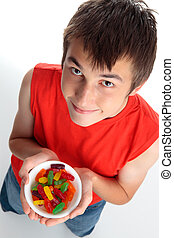 Boy with lollies candy