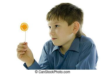 boy with lollipop