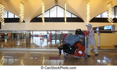 boy with luggage trolley walks in airport - boy with luggage...