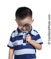 Boy with magnifying glass , isolated on white background