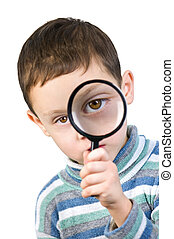 magnifying - boy with magnifying glass isolated