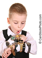 boy with many watches