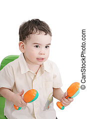 boy with maracas, isolated on white