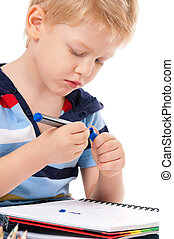 Boy with marker