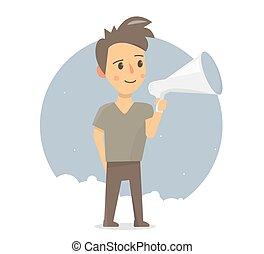 Boy with megaphone. Announcement or speech.