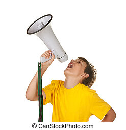 boy with megaphone on white
