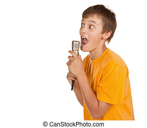 boy with microphone and lots of copyspace