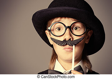 boy with mustache