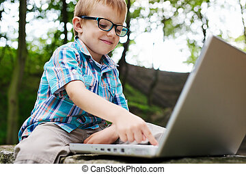 Boy with noteebook