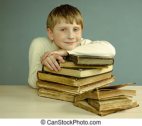boy with old books