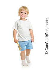 boy with paint brush front view standing full length isolated on white background