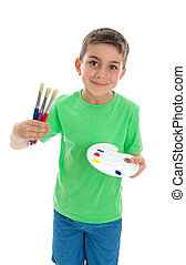 Boy with paintbrushes and artist palette