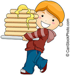 Boy with Pancakes with Clipping Path