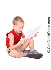 boy with paper isolated on white