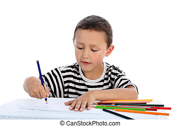 boy with pencil isolated on white