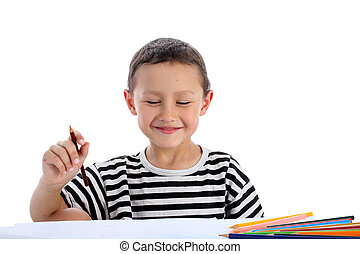 boy with pencils isolated on white
