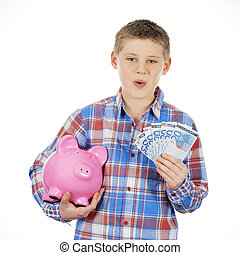 boy with piggy bank and banknote