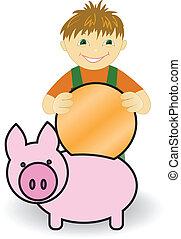 Boy with piggy bank