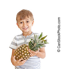 boy with pineapple isolated on a white background