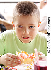 Boy with pink ice-cream