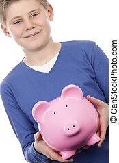 boy with pink piggybank
