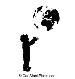 boy with planet earth silhouette illustration