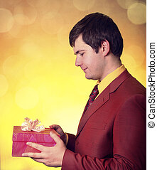 Boy with present box