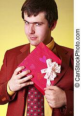 Boy with present box