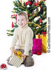 Boy with present box under Christmas tree