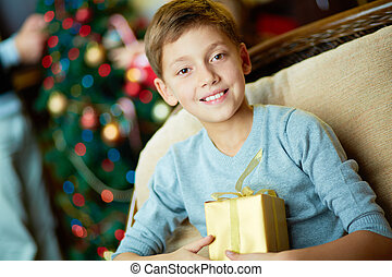 Boy with present