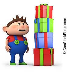 boy with presents - cute cartoon boy with pile of presents-...