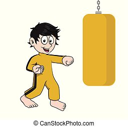 boy with punches vector illustration