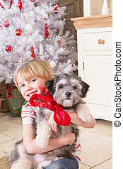 Boy with Puppy at Christmas