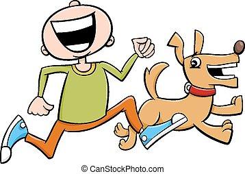 boy with puppy cartoon - Cartoon Illustration of Boy Running...