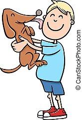 boy with puppy cartoon - Cartoon Illustration of Boy with ...