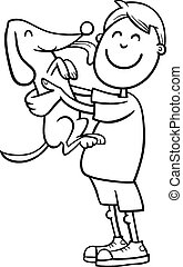 boy with puppy coloring page