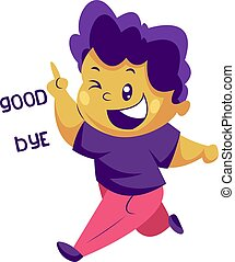 Boy with purple hair saying Goodbye vector sticker illustration on a white background