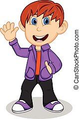 Boy with purple jacket and trousers