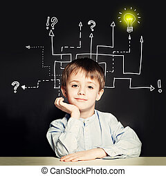 Boy with question signs and light idea bulb