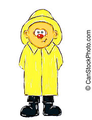 boy with raincoat - hand painted boy with raincoat on white...