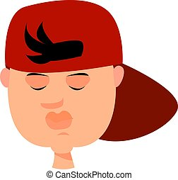Boy with red hat, illustration, vector on white background.