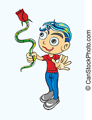 Boy with red rose