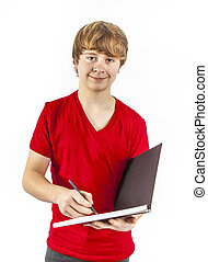boy with red shirts writes in his book
