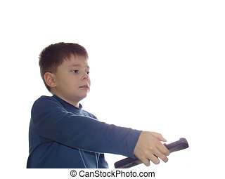 Boy with remote control isolated over white