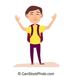 Boy with Rucksack Raise Hands Up Illustration