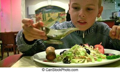 boy with sauce, bread, salad - Boy with sauce, bread, salad